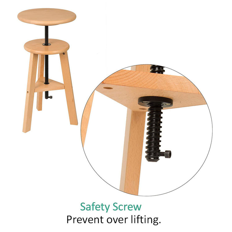 Wooden Drafting Stool with Adjustable Height