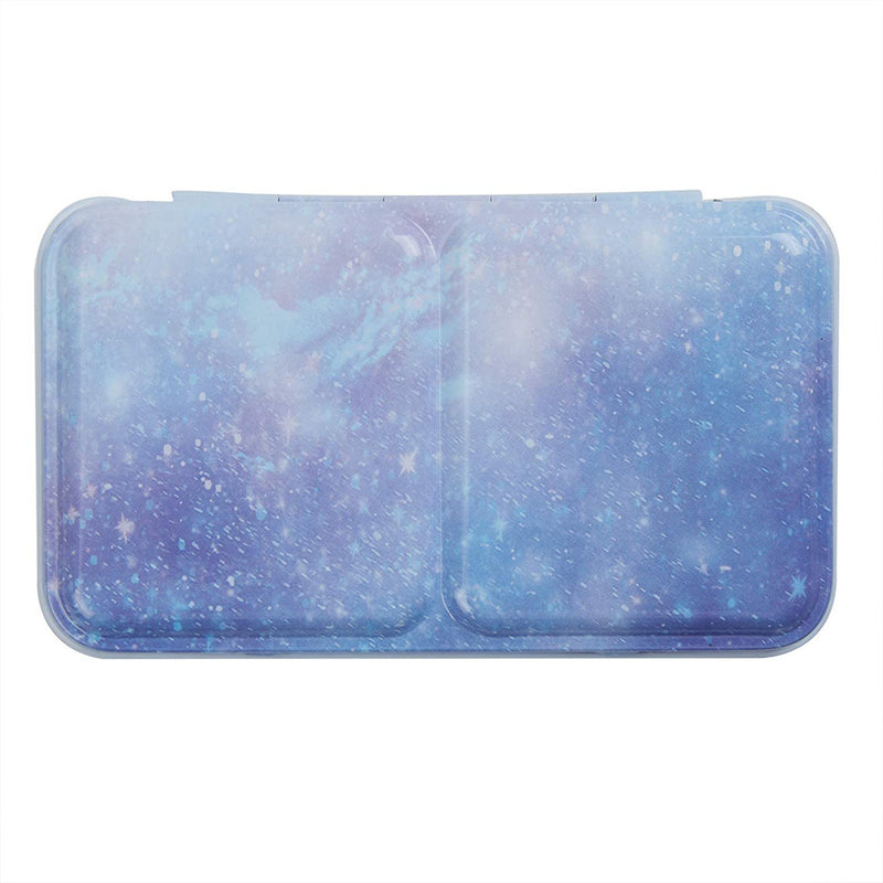 Empty Watercolor Tins Box Palette Paint Case, Small Purple Galaxy Tin with 14 Pcs Half Pans