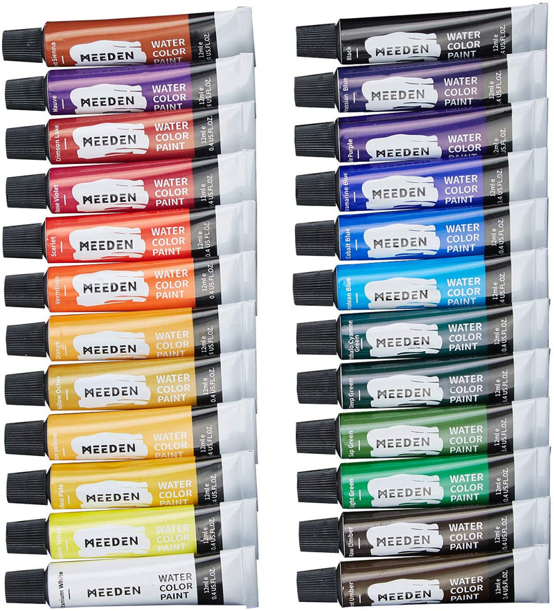 Watercolor Paint, Set of 24 Vibrant Colors in Tubes(24 x 12ml)