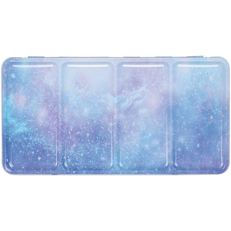 Empty Watercolor Tins Box Palette Paint Case,  Large Purple Galaxy Tin with 52 Pcs Half Pans