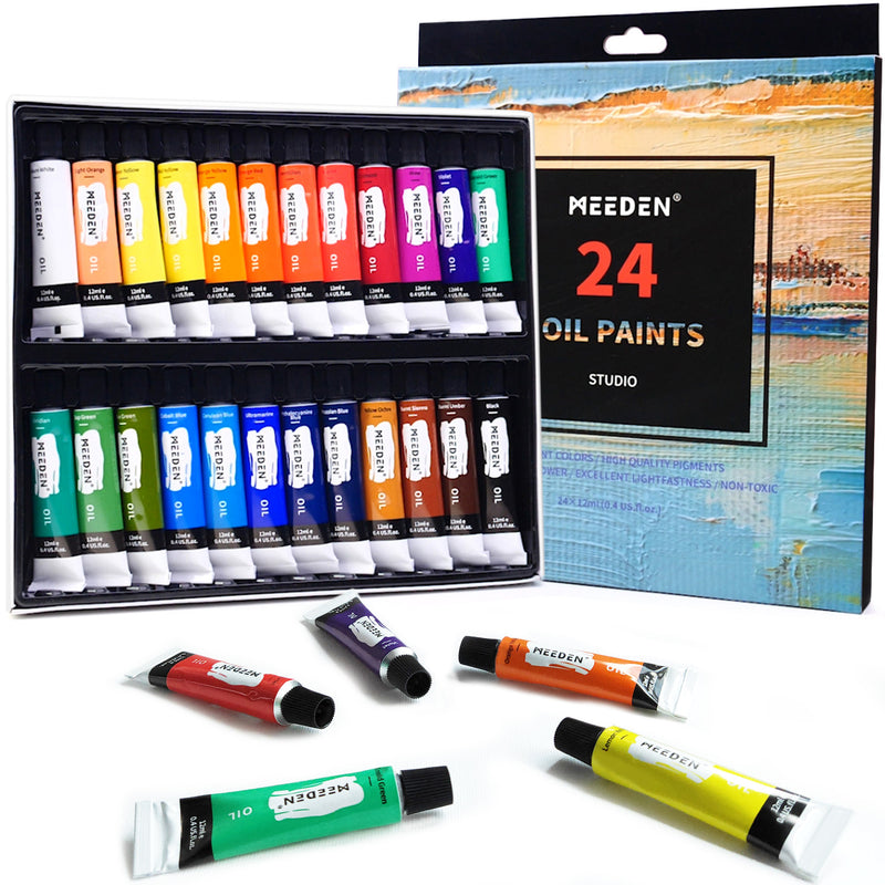 Oil Paint Set of 24 Tubes x 12 ml, Rich Pigments Non-Toxic for Art Students