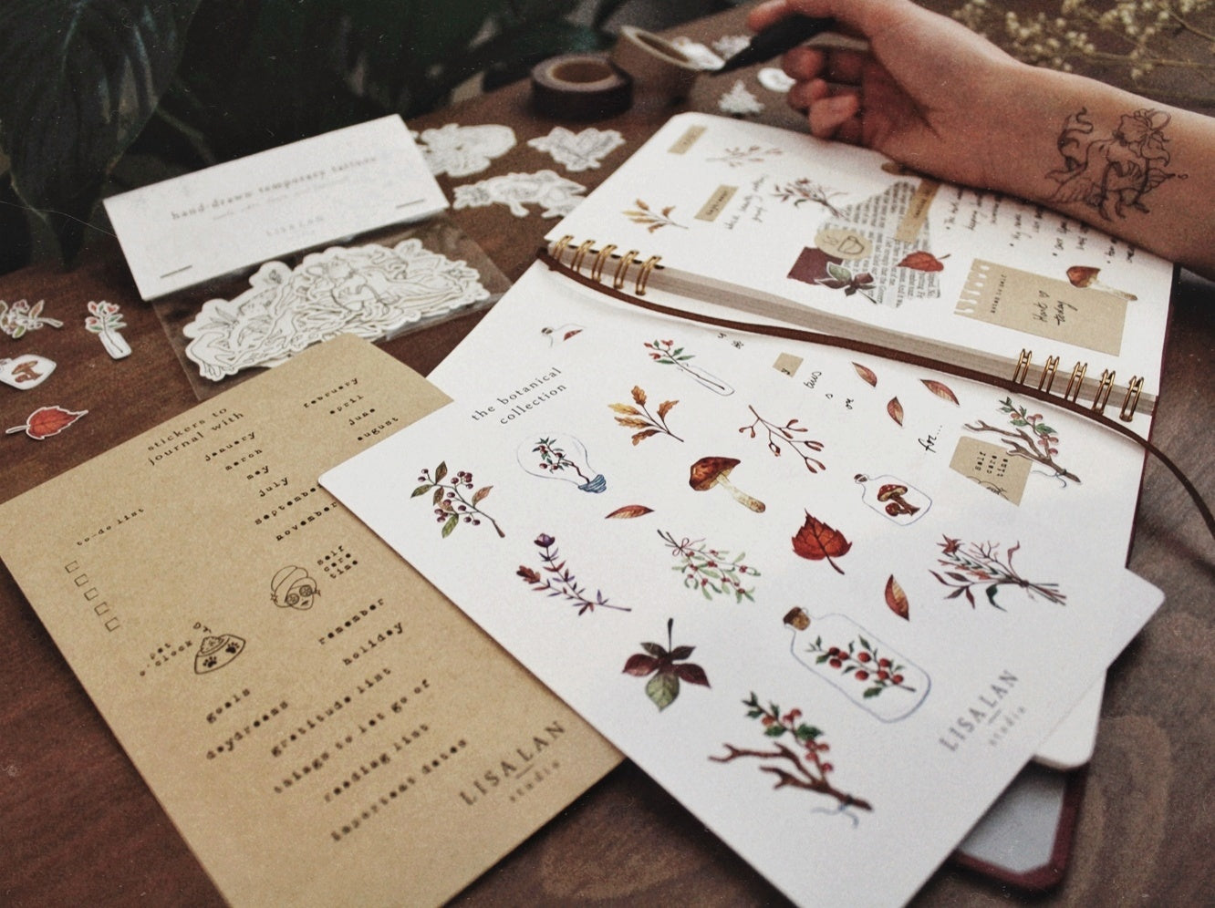 Kraft journal stickers