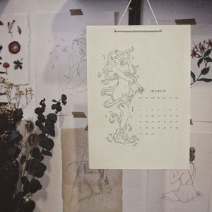Downloadable Digital Printable 2021 Monthly Wall Calendar with 11 original ink drawings of ethereal muses intertwined with botanical elements by Lisa Lan