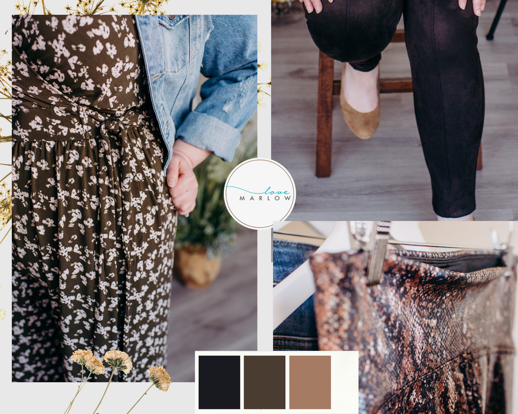 Photo collage of fall bottom styles including microsuede leggings, faux leather leggings and a patterned jumpsuit