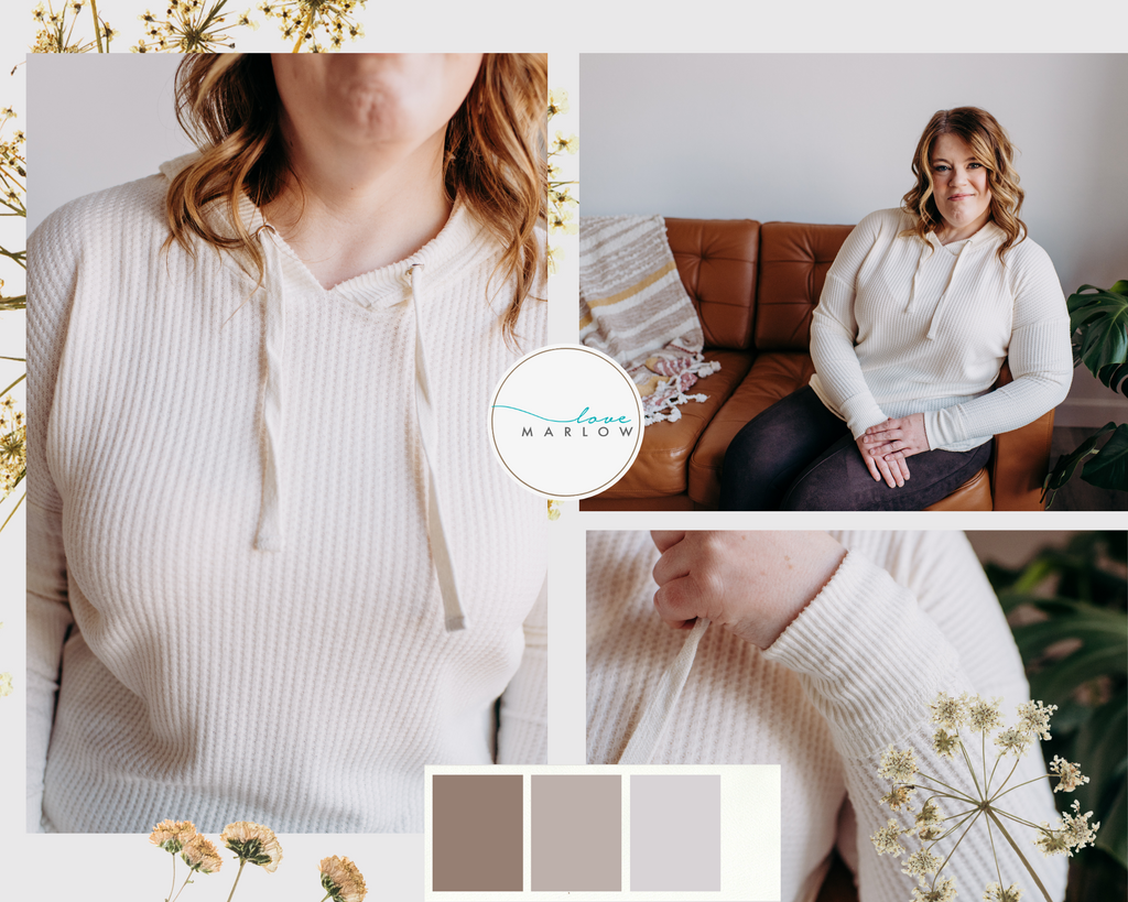Photo collage of a white hooded sweater.