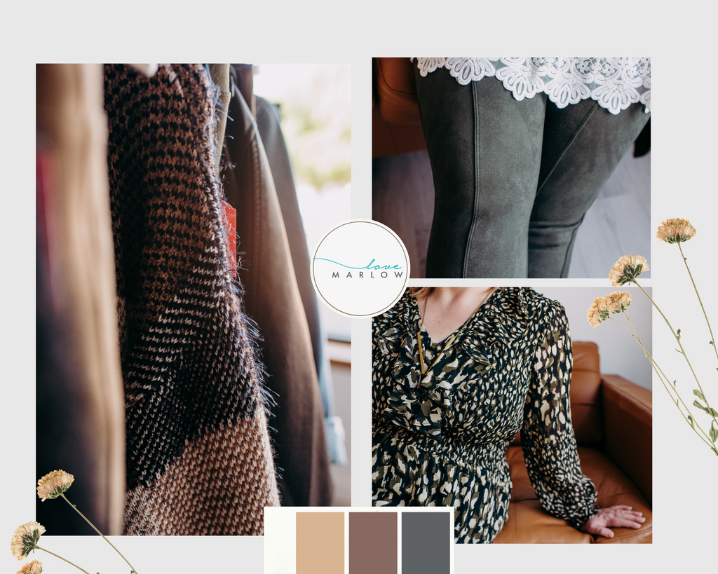 Photoboard of fall fashion including microsuede, eyelash knits, and elevated patterns.