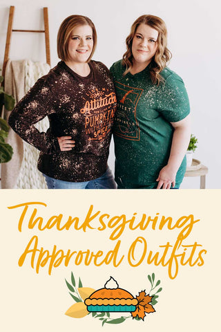cute thanksgiving outfits. Two women stand in fall themed graphic teams with a pumpkin pie icon below.