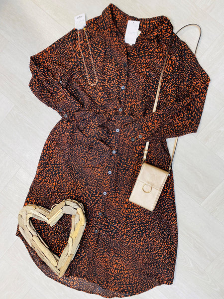 flat lay of a stylish plus size dress that is a rust and black color.