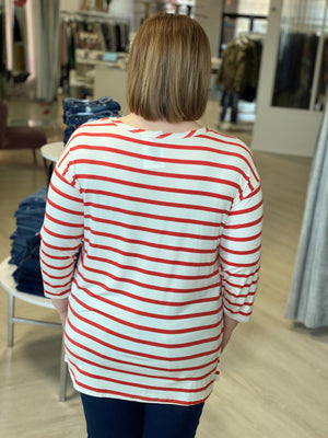 3/4 SLEEVE STRIPED TUNIC TEE IN HIBISCUS AND IVORY