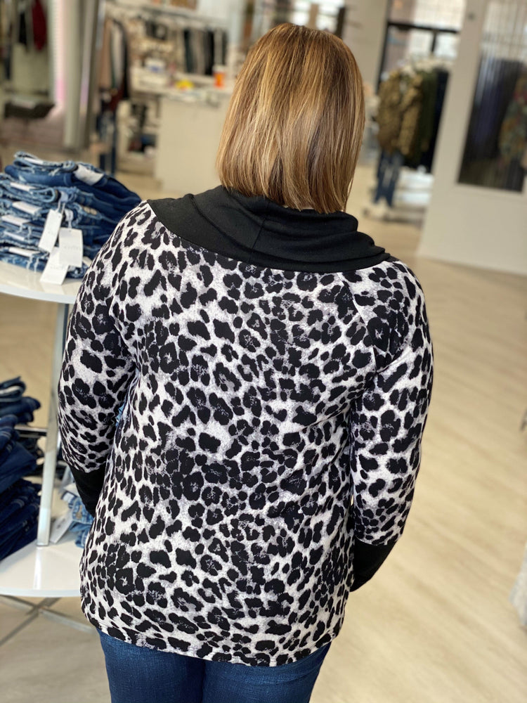 ANIMAL PRINT COWL NECK TEE