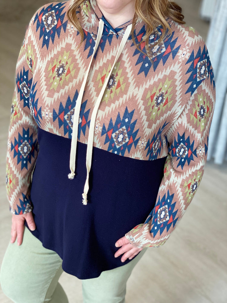 Load image into Gallery viewer, AZTEC PRINT COLORBLOCK HOODIE