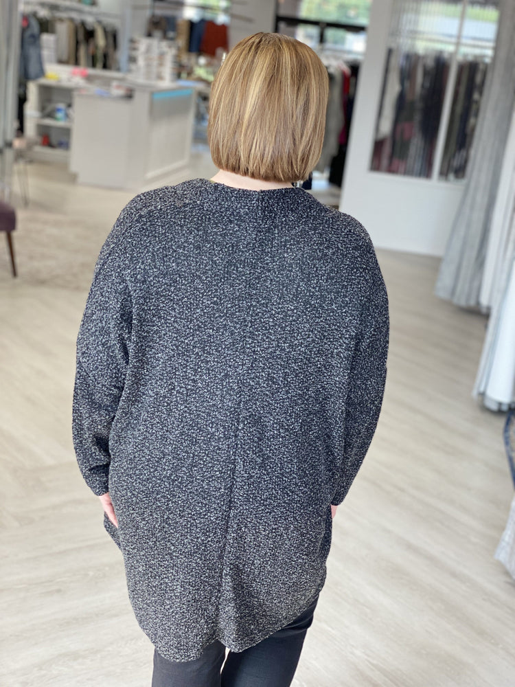 BLACK HEATHERED OPEN CARDIGAN WITH POCKETS