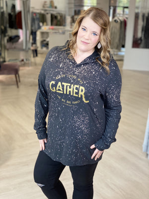 "Plus size graphic hoodie tee saying, ""Bless those who gather for we are family,"" with splatter bleach."