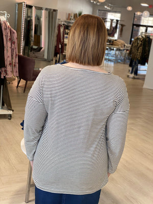 BOATNECK STRIPED TUNIC TEE