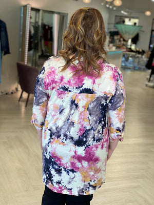 Load image into Gallery viewer, BREEZY 3/4 SLEEVE INK BLOT TIE DYE BLOUSE