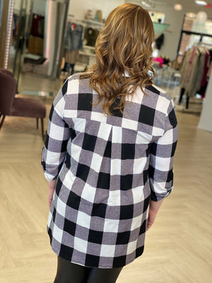 BREEZY OFF WHITE PLAID BLOUSE