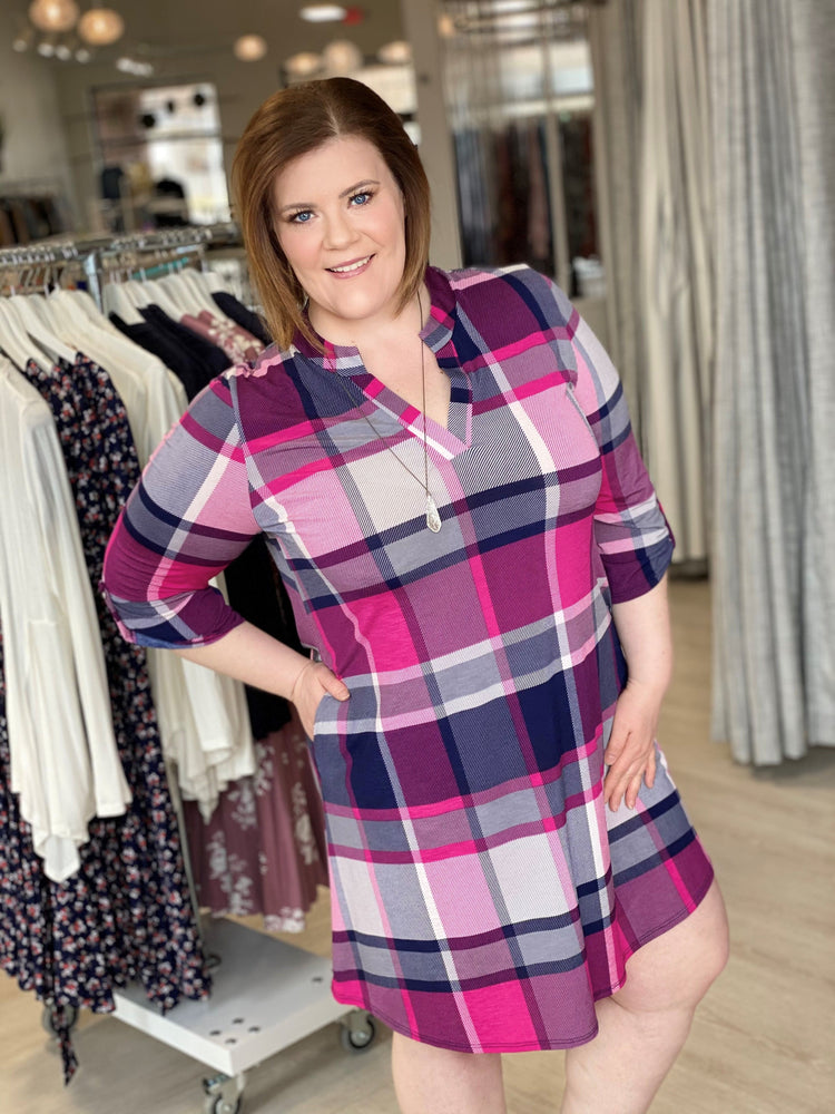 Load image into Gallery viewer, BREEZY PLAID DRESS