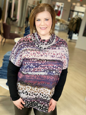 Load image into Gallery viewer, COWL NECK BRUSHED ANIMAL PRINT TUNIC