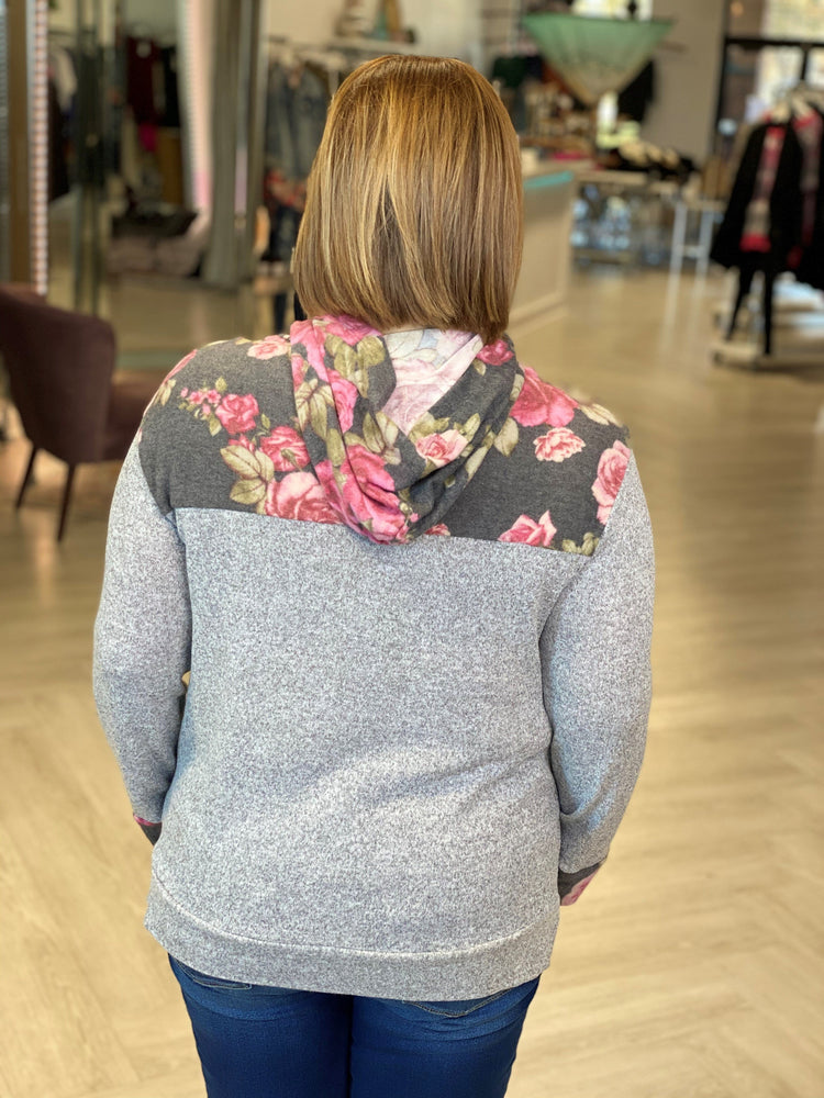 COZY FLORAL AND SOLID HOODIE