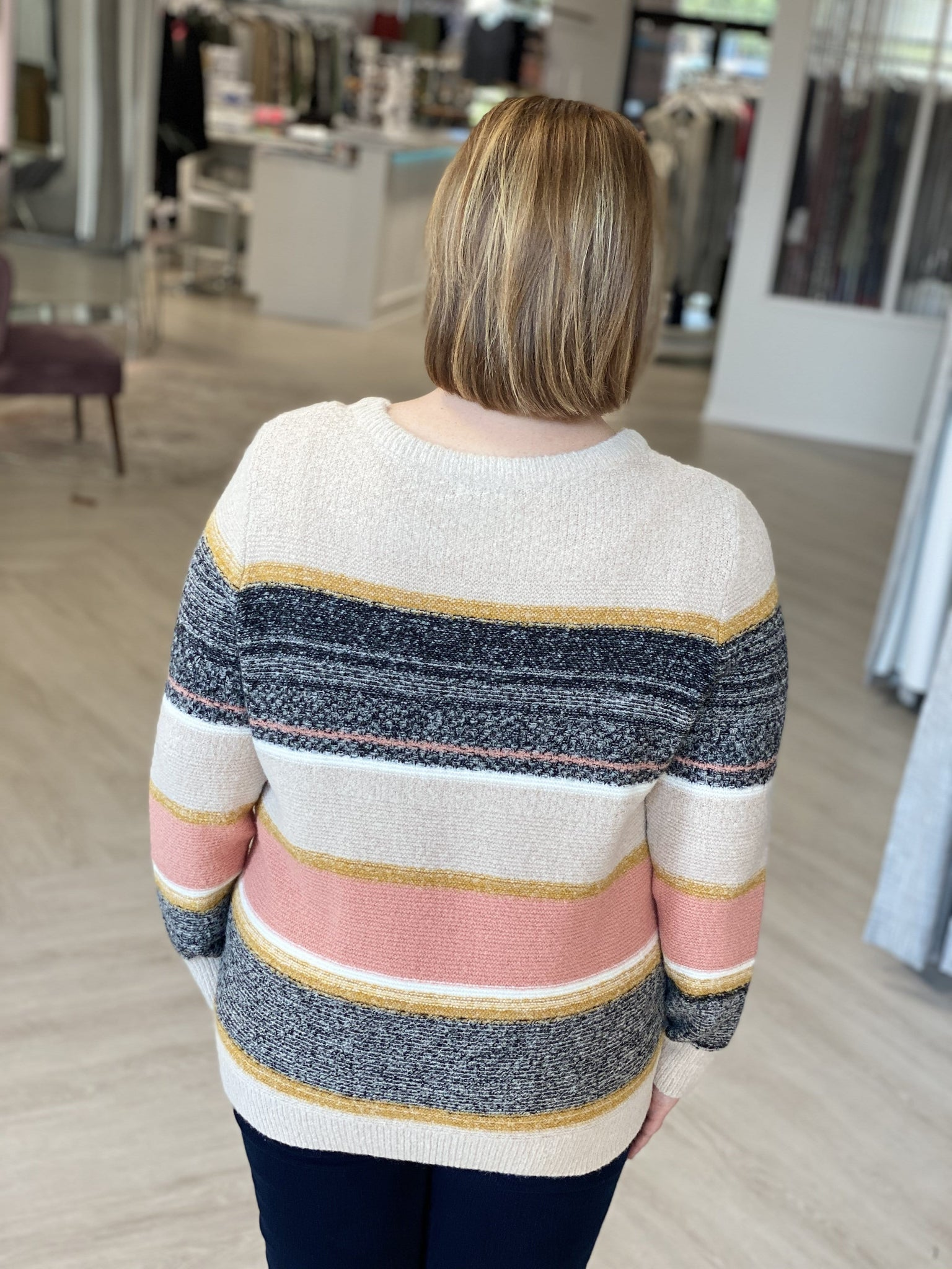 COZY STRIPED KNIT SWEATER IN OATMEAL