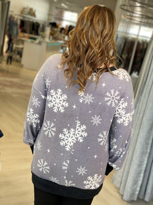 Load image into Gallery viewer, COZY V-NECK SNOWFLAKE TEE