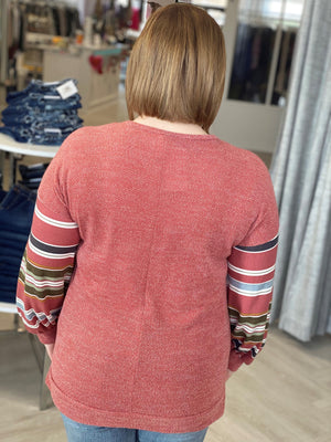 CRISSCROSS V-NECK TEXTURED TEE WITH STRIPED BLOUSON SLEEVE
