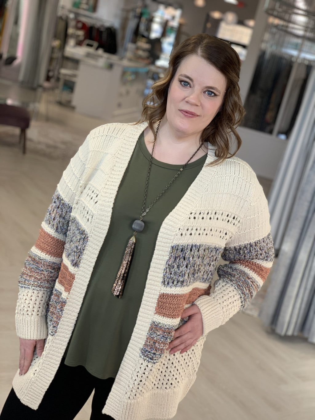 OPEN KNIT COLOR BLOCK CARDIGAN WITH METALLIC