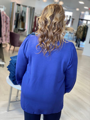 DRAWSTRING HEM PULLOVER WITH PUFF SLEEVE