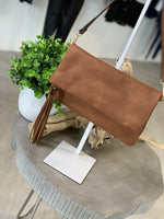 FAUX LEATHER FOLD OVER ENVELOPE CLUTCH