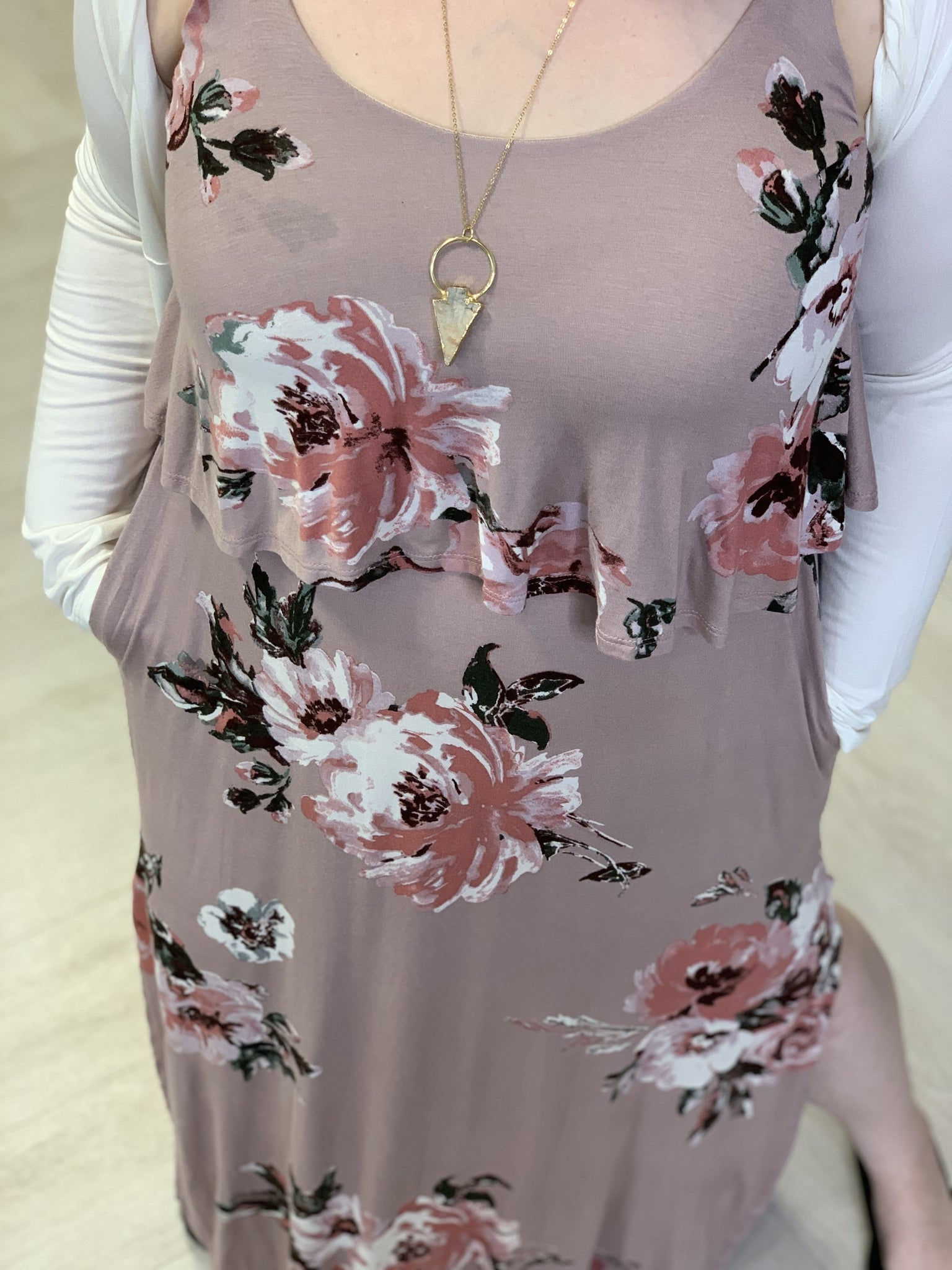 FLORAL MAXI DRESS WITH RUFFLE TOP