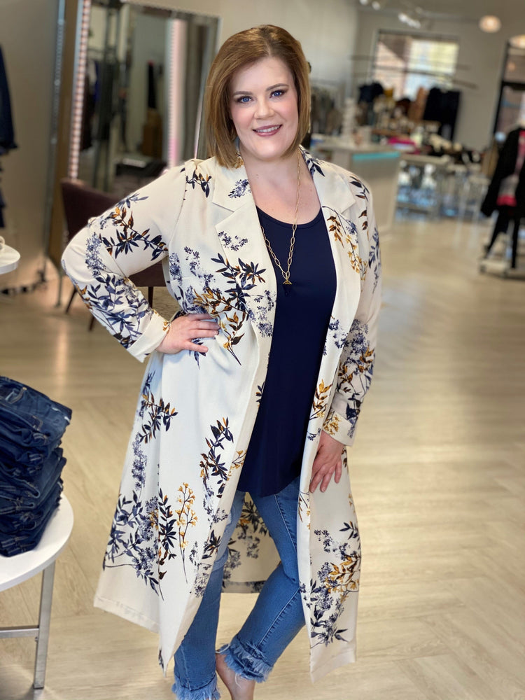 Load image into Gallery viewer, FLOWY FLORAL DUSTER BLAZER