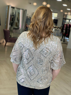 FLUTTER SLEEVE SEQUIN BLOUSE