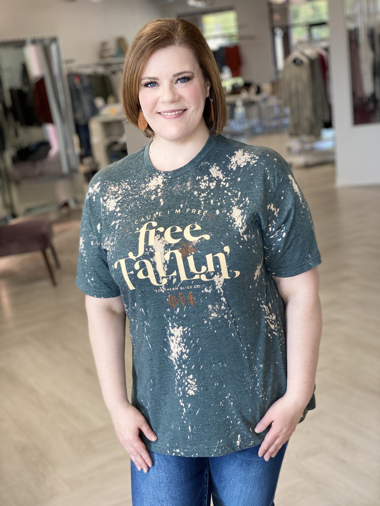"Plus size graphic tee saying, ""'Cause I'm free fallin'."""""