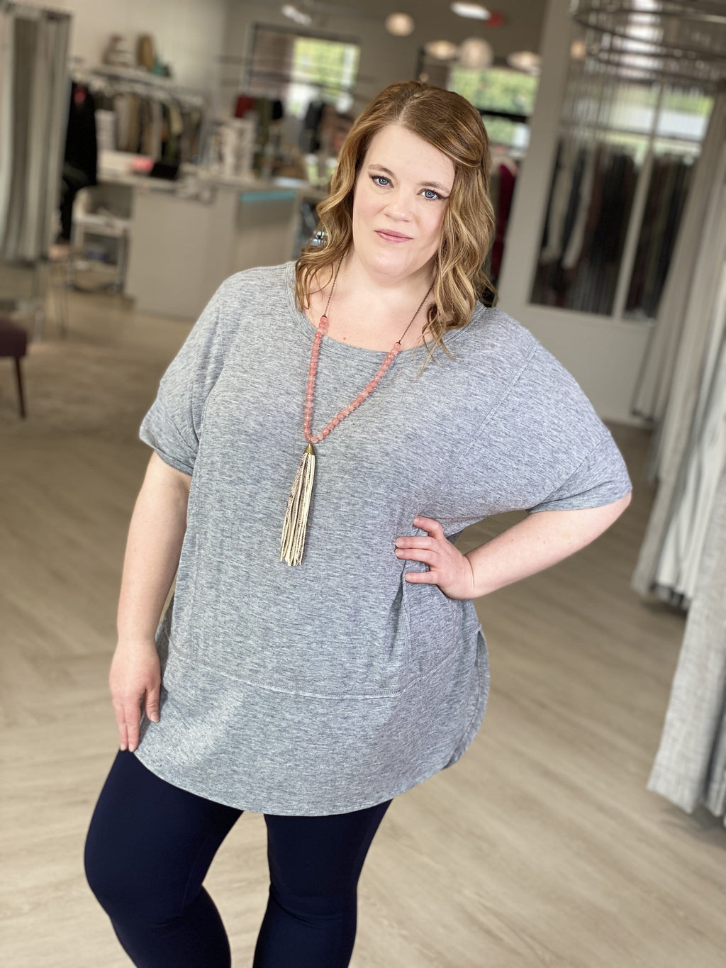 GREY BOXY KNIT TEE WITH RAW EDGE DETAIL