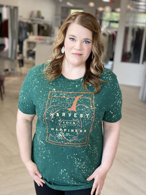 "Plus size graphic tee with a pumpkin that says, ""Harvest your happiness."""