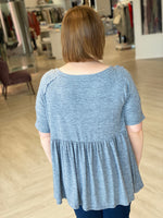 KNIT BABY DOLL TEE WITH RAGLAN SLEEVE