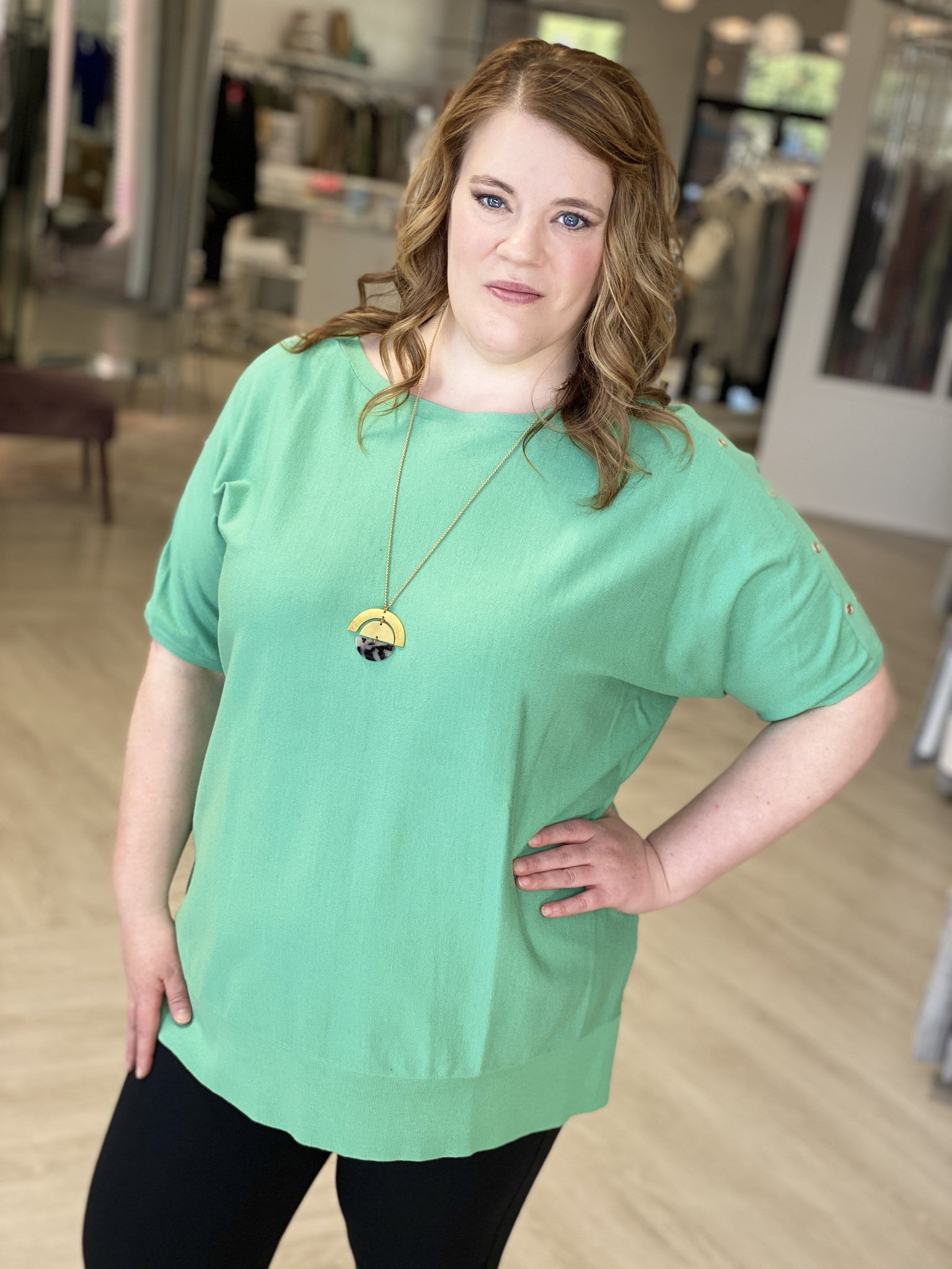 KNIT DOLMAN BLOUSE WITH GROMMET DETAIL