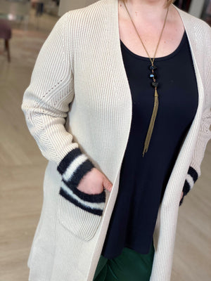 KNIT DUSTER CARDIGAN WITH FAUX FUR ACCENTS