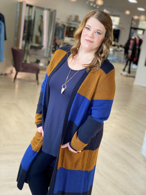 KNIT STRIPED DUSTER CARDIGANS WITH FRONT POCKETS