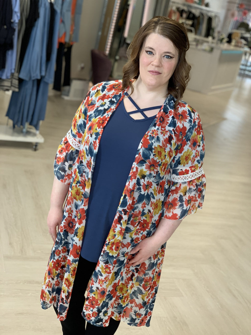 BELL SLEEVE DUSTER KIMONO WITH DAFFODIL PRINT
