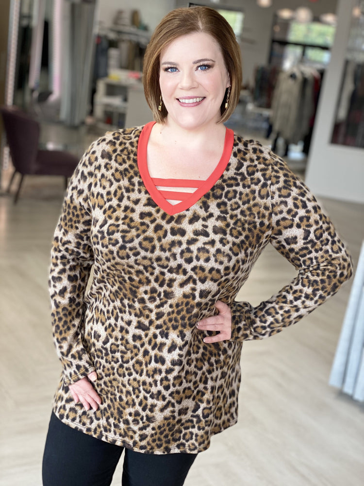 LEOPARD PRINT LONG SLEEVED TEE WITH RED ACCENTS