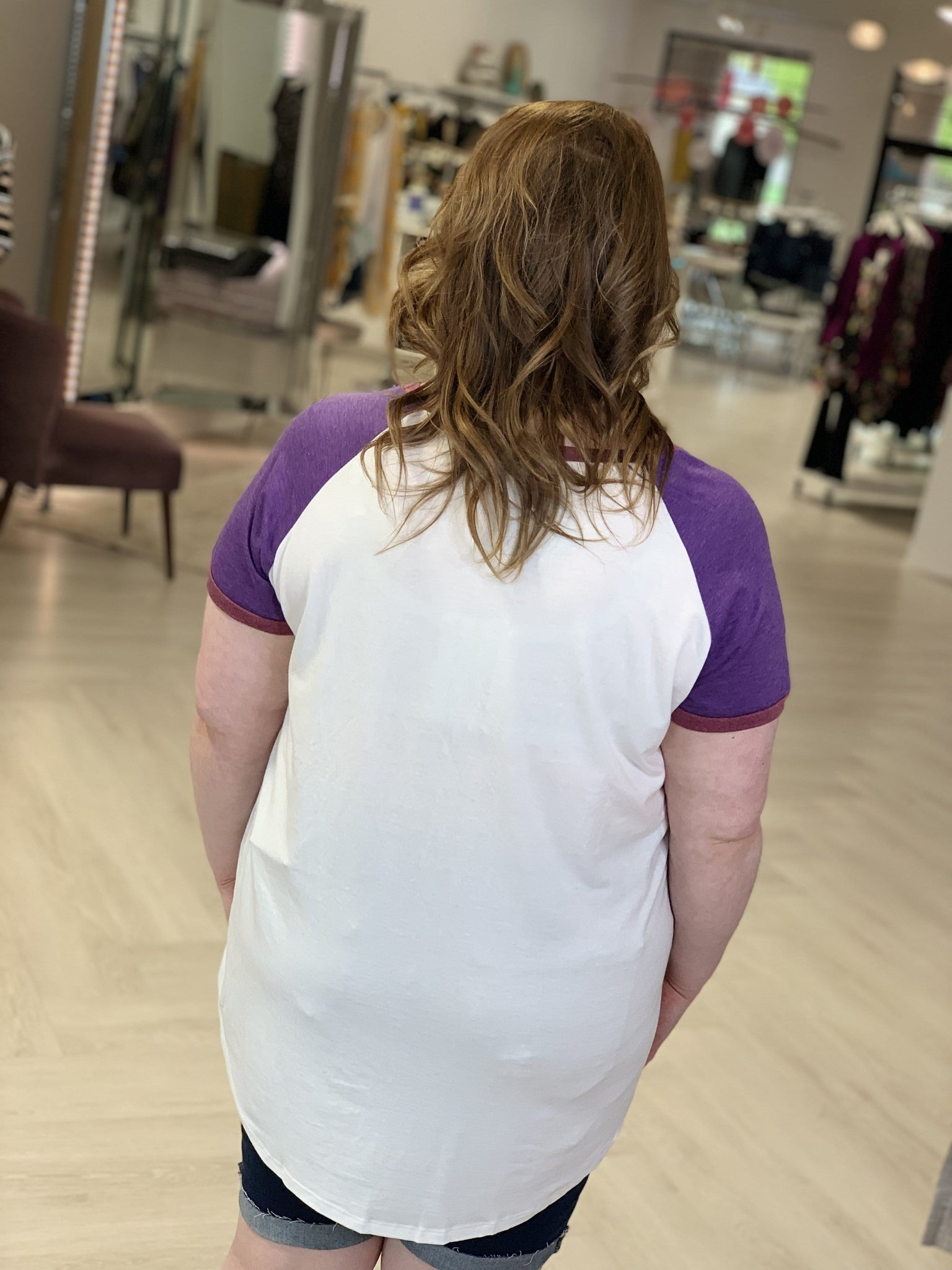Plus Size Back of grapic tee. No writing, length is below tush.