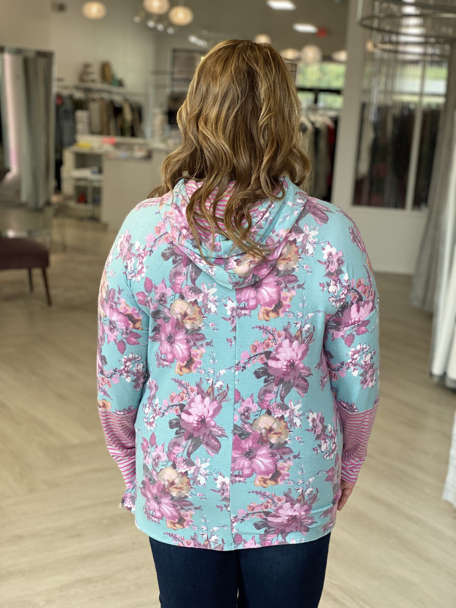 LIGHTWEIGHT FLORAL HOODIE WITH CUFF DETAIL