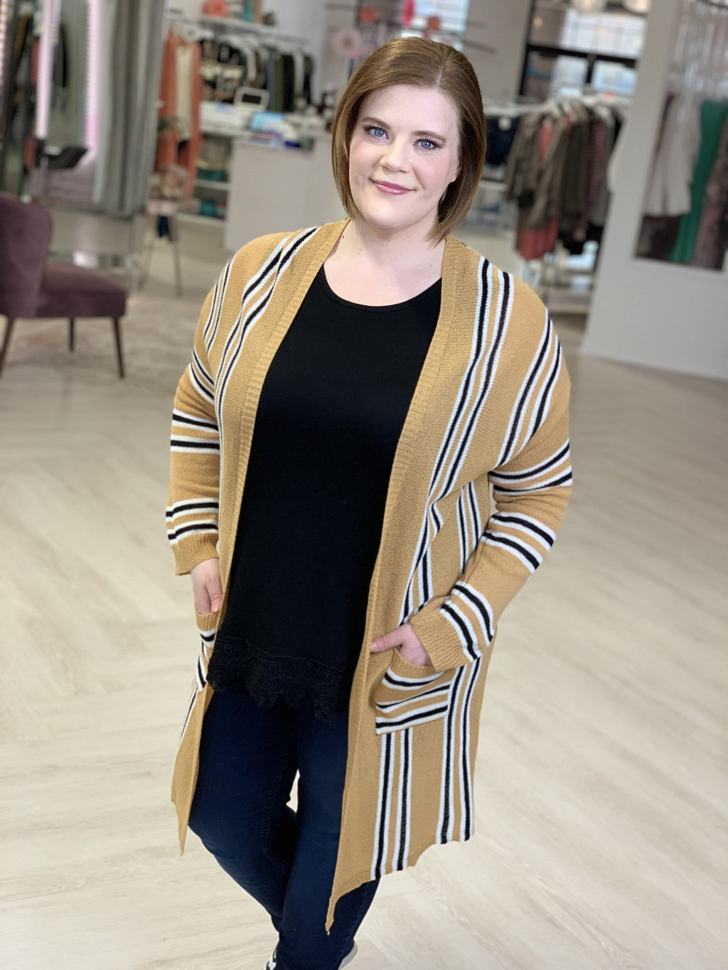 LIGHTWEIGHT STRIPED CARDIGAN WITH POCKETS