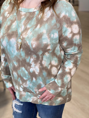 Load image into Gallery viewer, LONG SLEEVE TIE DYE TEE IN MINT AND MOCHA