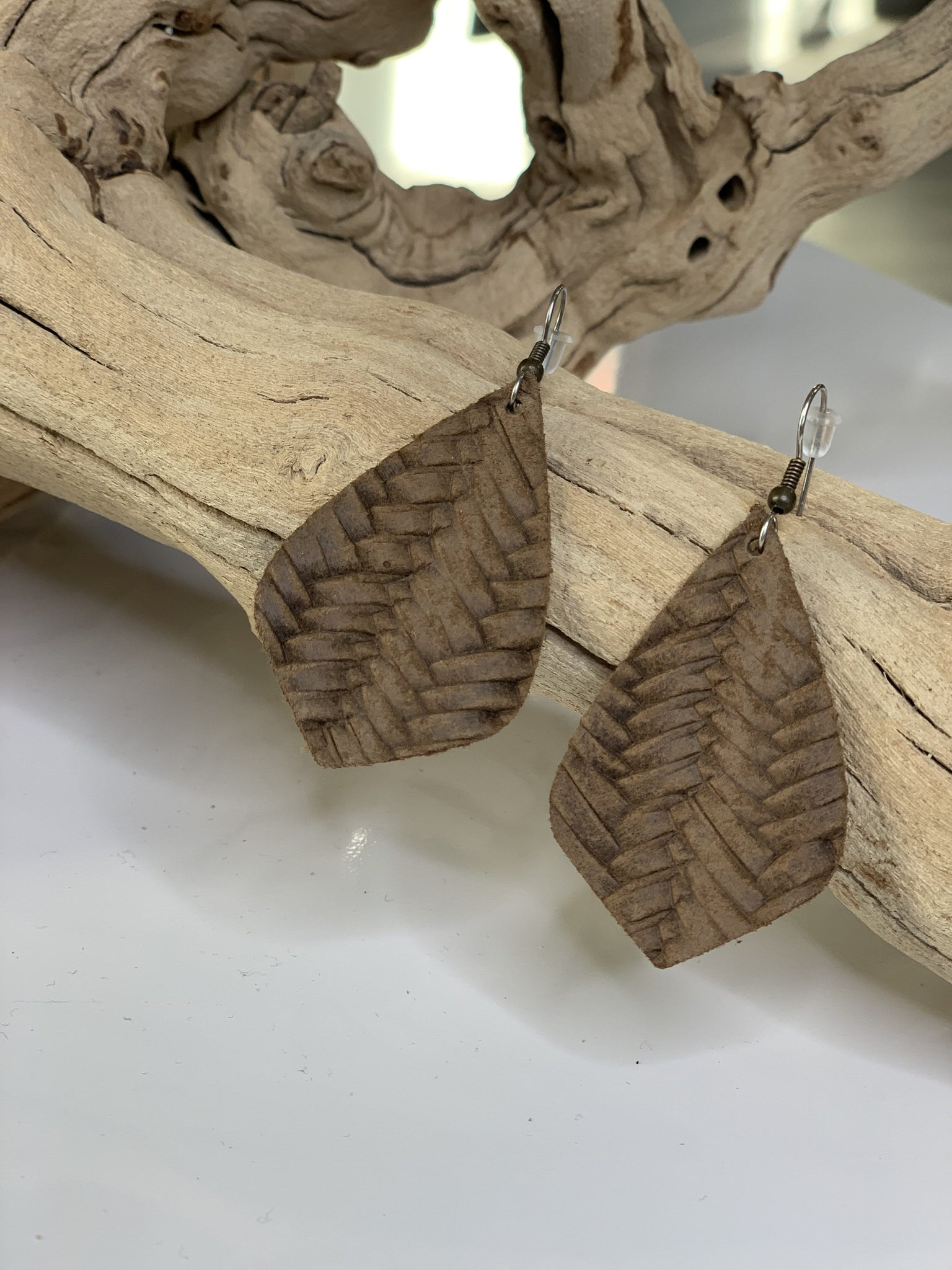 LARGE FAUX LEATHER EARRINGS