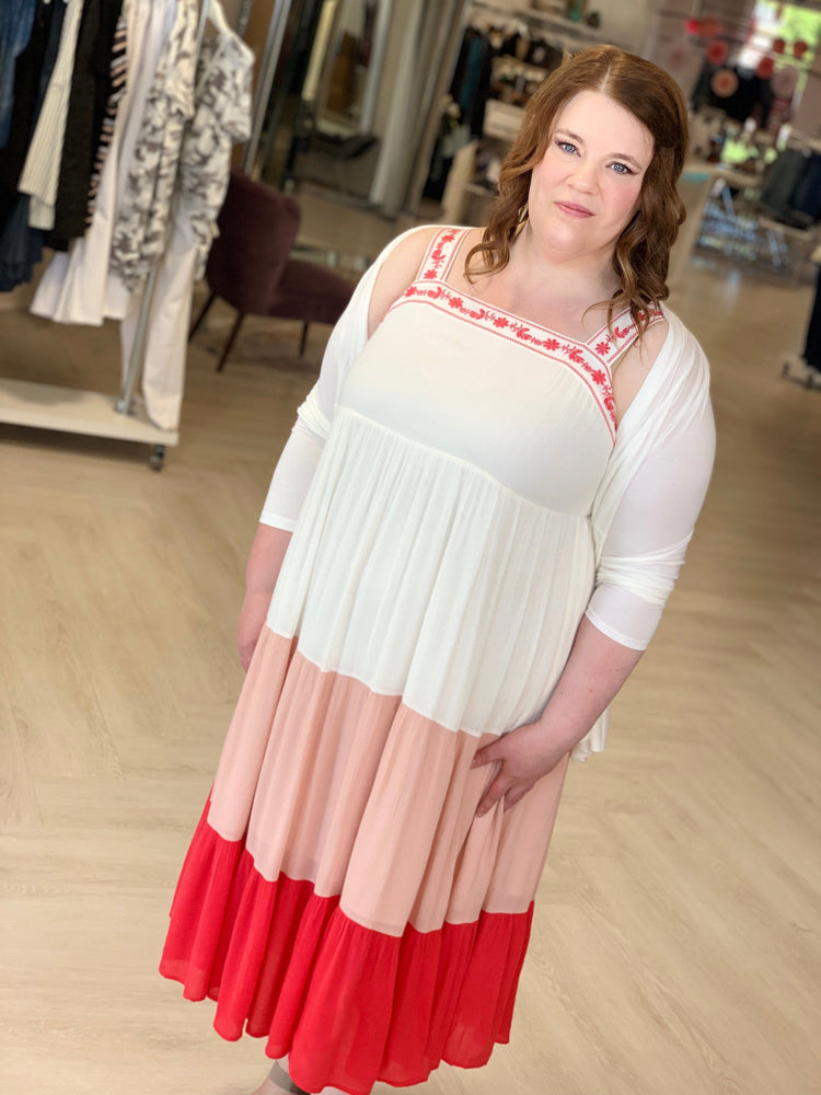 Load image into Gallery viewer, OMBRE MIDI DRESS WITH DAINTY EMBROIDERED TRIM