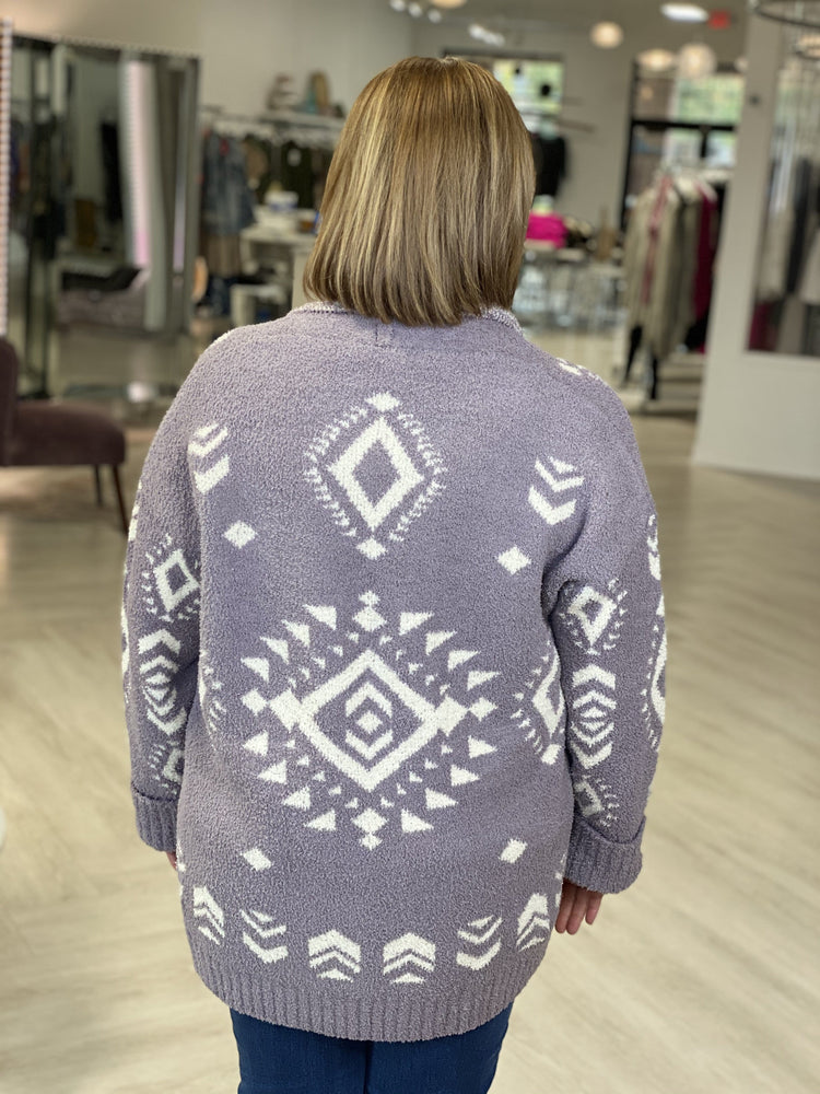 OPEN FRONT AZTEC CARDIGAN IN STORMY