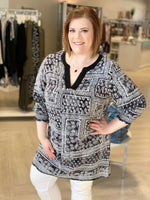 PATTERNED CHIFFON TUNIC