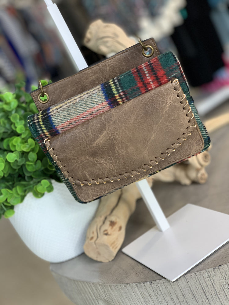 PLAID AND FAUX LEATHER WALLET WITH WHIPSTITCH DETAIL